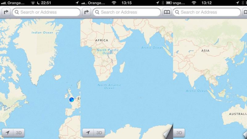 Apple Maps Oceans