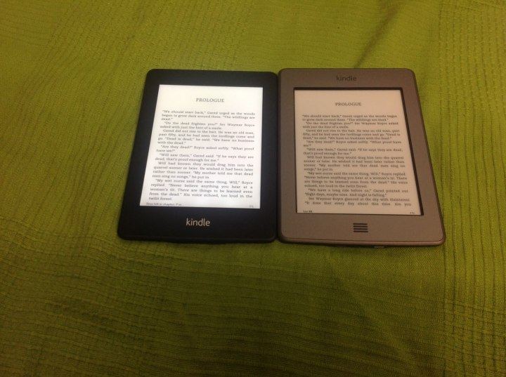 Kindle Paperwhite (left) and previous generation Kindle Touch