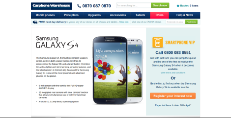 Samsung Galaxy S4 Carphone Warehouse