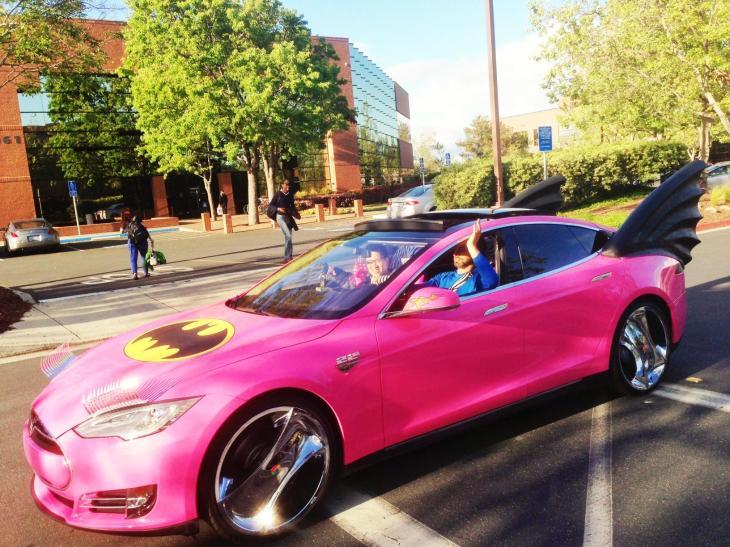 Sergey Brin Pink Batman Tesla