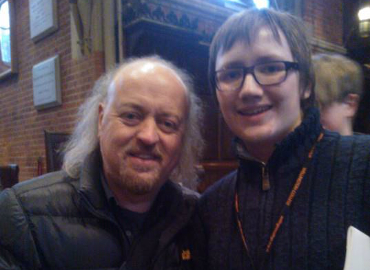 Xavier Voigt-Hill [right] pictured with comedian Bill Bailey two months before his three-hour long offline ordeal